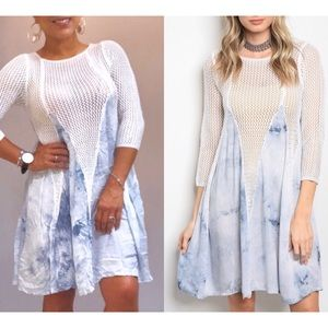 Blue + White tie-dye dress, New!
